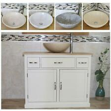 Bathroom Vanity Unit | White Cabinet Wash Stand with Stone Basin