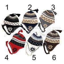 Winter Peruvian Ear Flap Ski Hat Beanie Cap Snow Flakes Men's Pick Your Pattern