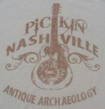 ANTIQUE ARCHAEOLOGY picking PICKIN NASHVILLE large 100% Cotton T-Shirt tan NICE!