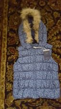 NWT Gap Kids Girl  hooded Printed  Faux Fur Coat Jacket Vest S 6-7