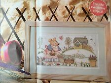 Cross Stitch Pattern Rosie the Mouse in the Garden Gardening Picture Chart Only