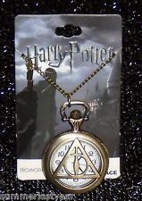 HARRY POTTER DEATHLY HALLOWS POCKET WATCH WITH NECKLACE ~WARNER BROS.~FREE SHIP