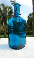 TUMBLED - BEAUTIFUL PEACOCK BLUE VINTAGE AYERS HAIR VIGOR ANTIQUE BOTTLE! SUPER!