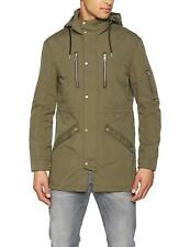 Only & Sons Mens Parka Jacket Winter Coat Hooded Warm Long Zip Up Adjustable