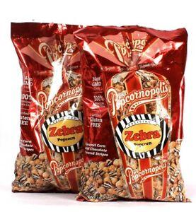 2 Bags Popcornopolis 10.5 Oz Zebra Popcorn Caramel Corn With Chocolate Stripes