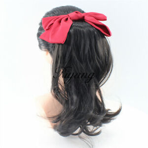 Women's Hair Ponytail Red Bow Medium Long Drawstring Clip on Extension Synthetic