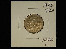 1926 Canada Five Cents - VF - Near 6
