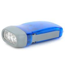 Crank Dynamo Powered Blue Light Hiking Flashlight Hand Pressing Torch LED