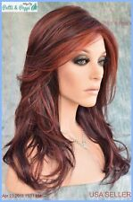 """""""Orchid"""" LACE FRONT W/ LACE PART WIG VOGUE DARK BROWN DEEP RED BLEND * MUST SEE"""