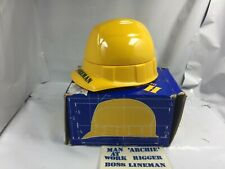 Vintage Avon Hard Hat yellow Foreman 4oz Deep Woods After Shave Stickers Nos Fs