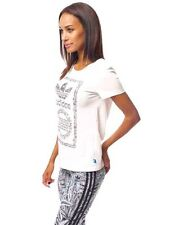 Womens adidas Bio Cotton T Shirt White Core Tong Label Tee Top UK 10