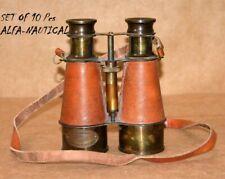 6'' Brass Binocular Maritime Nautical Spyglass W/ Leather Grip Binocular Lot 10
