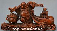 Collect China boxwood Hand carved feel happy Maitreya Buddha moneybag boy statue