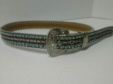 Girls Western Belt Multicolor Woven Leather Rhinestones Blue Silver Orange