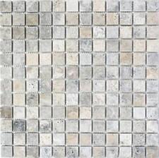 Mosaik Fliese Travertin Naturstein weißgrau silber 43-47023_f  10 Fliesen
