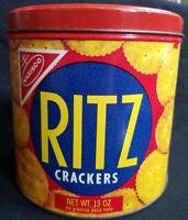 1977 Vintage Nabisco Ritz Cracker 13-oz. - Round Advertising Tin Canister