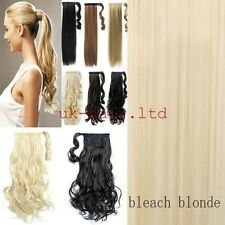 Real Natural Mega long Clip In Hair Extension wrap around clip on ponytail LK88