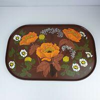 Vintage Retro Medium Marks & Spencer M&S St Michael Melamine Tray Brown Floral