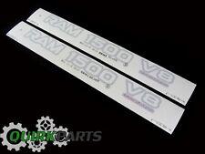 99-01 DODGE RAM 1500 V8 SILVER DECAL EMBLEM NAMEPLATE BADGE SET/2 MOPAR GENUINE