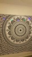 Indian Diya Mandala Bedspread Hippie Tapestry Twin Wall Hanging Ethnic Throw