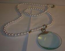 Brand New QVC Magnifier Pendant with simulated pearls Necklace