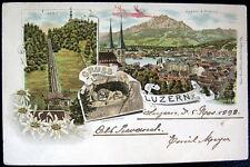 SWITZERLAND~SCHWEIZ~1898 GRUSS aus LUZERN ~ Pilatus ~ Guetsch ~  LITH.