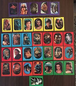 1983 Topps Star Wars Return of the Jedi Complete Sticker Set 1-33 Near Mint VTG
