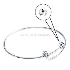 Silver Tone Copper 65cm Blank Bangle Bracelet Fit add Cage Locket Rotatable