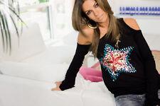 DENNY ROSE MAGLIA blusa art. 8115 STELLA paillettes rara introvabile NERA tg.S