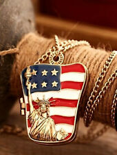 N794 GOLDEN LOCKET AMERICAN FLAG STATUE OF LIBERTY STYLE PENDANT NECKLACE