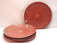 Swirl Hand Painted Collection Dinner Plates Red Set Of 4