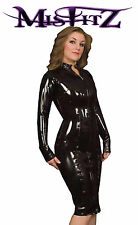 Misfitz black rubber latex sexy 2 way zip Pencil mistress dress, size 20 TV