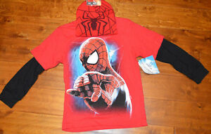 Boy's Marvel Spider-Man Red Two-Tone Long Sleeve T-Shirt Top & Beanie L (10-12)
