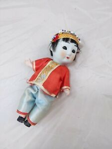 Vintage Pair of Asian Bisque Head Dolls in Silk Outfits, Sleepy Eyes, Marked