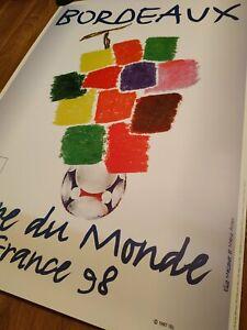 Soccer original poster World cup 1998, France. Bordeaux.