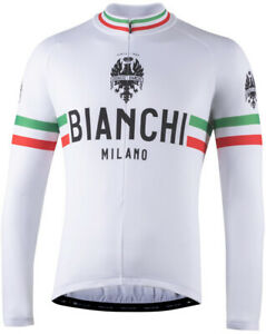 Bianchi Milano Storia Long Sleeve Cycling Jersey White - Made in Italy