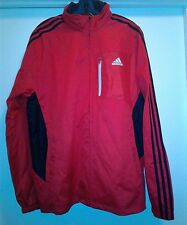 Men Adidas Windbreaker Track Jacket Red Black with Hood M