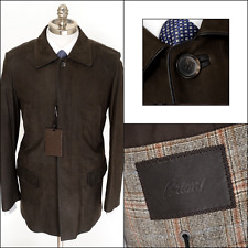 Mens BRIONI Brown Leather Cashmere Lined 3/4 Field Jacket Car Coat 50 M L NWT!