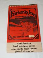 Vintage FAIRBANKS INN service Directory FAIRBANKS ALASKA local Info & Room Menu