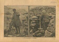 WWI Poilus Tranchée Fusil Lance-Grenades Arbalète La Marne War 1917 ILLUSTRATION
