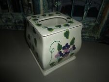 WAVERLY SWEET VIOLETS PURPLE GREEN FLORAL TISSUE BOX COVER CERAMIC 5 X 6