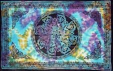 "Celtic Knot Multi Tie Dye Tapestry Blanket 72 x 108"" Wiccan Pagan Altar WTKTD"