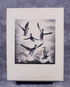 "R. H. Palenske 1940s ""Startled Mallards"" Drypoint Etching Print"