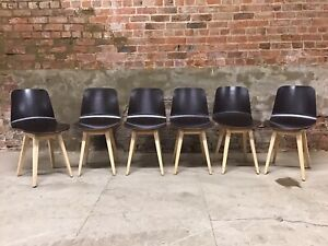 6 Mid Century Style Danish Influenced Beech And Ply Bentwood Dining Chairs