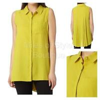 New Debenhams Lime Chiffon Sleeveless Summer Blouse Top Size 10 12 14