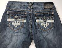 Men's Xtreme Couture Blue Flap Pocket Cotton Blue Jeans Size 34 x 29 Distressed