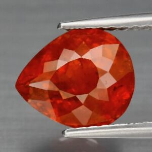 2.95ct 8.8x7.5mm Pear Natural Orange Spessartite Garnet Namibia