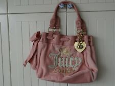 Authentic  JUICY COUTURE Vintage Pink Velour and Leather Bag Tote Satchel