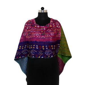 Vintage Kantha Scarf Silk Sari Stole Indian Handmade Women Dupatta Neck Wrap