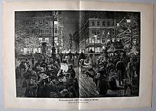 """Berlin """"Weihnachtsabend unter den Linden"""" Stich, Holzstich n. F.Stahl 1889"""